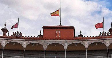 Las banderas de la Monumental de Las Ventas ondean a media asta